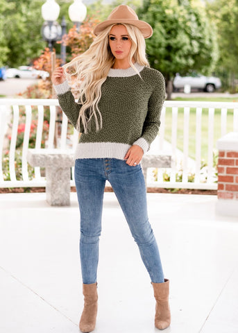 Cozy Popcorn Sweater - Green