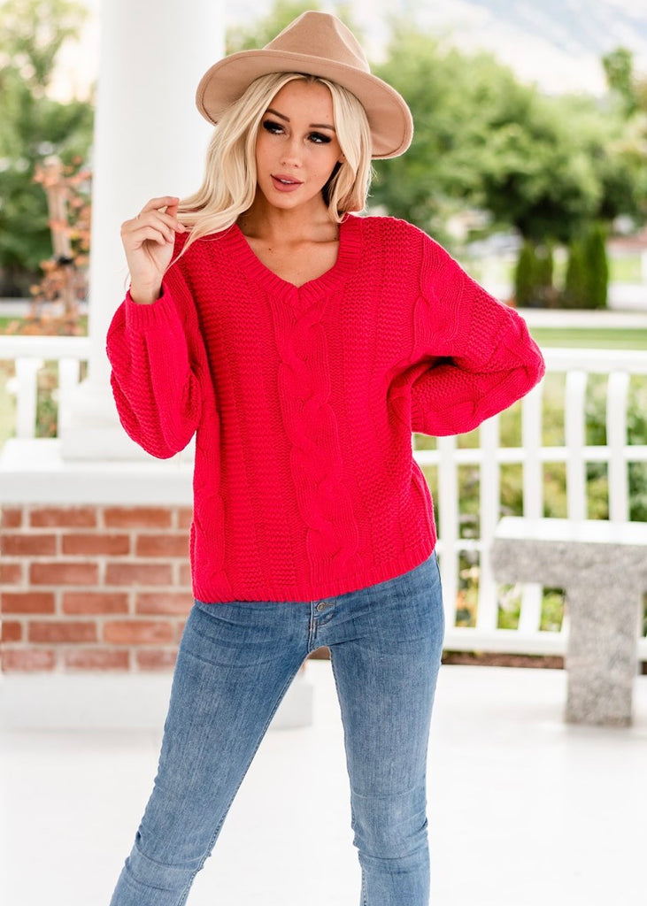 V-Neck Braided Knit Sweater - Red