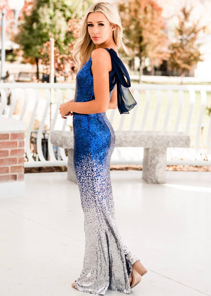 New Years Sequin Gown - Blue