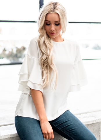 Oh So Sweet Tiered Blouse - White
