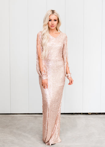 Elegant Long Sleeve Sequin Dress - Rose Gold