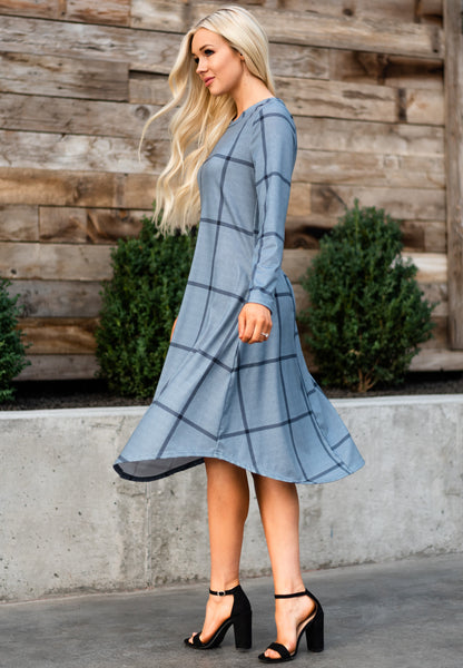 Checkered Midi Dress - Gray