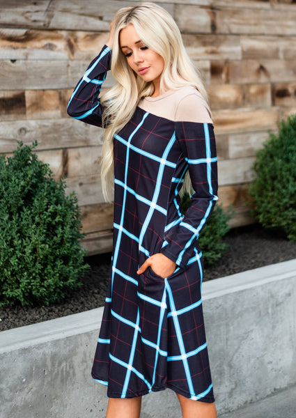 Checkered Midi Dress - Black