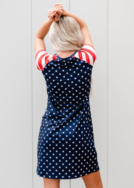 Stars Patriotic Tee Dress - Blue