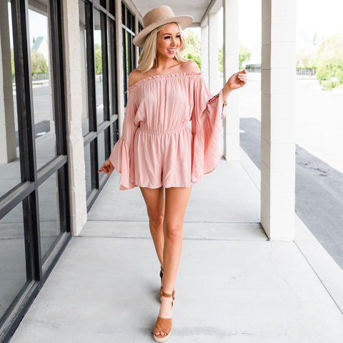 Bohemian Embroidered Sleeve Romper - Rose