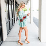 Bohemian Embroidered Sleeve Romper - Sage