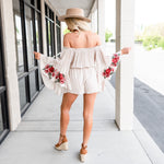 Bohemian Embroidered Sleeve Romper - Off White