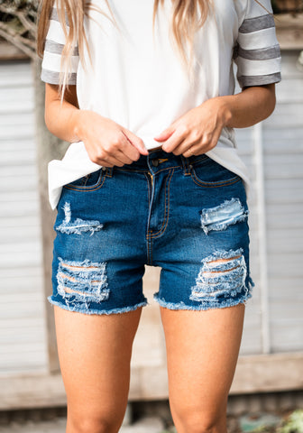 Destroyed High Waist Shorts