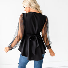 Load image into Gallery viewer, Mesh Puff Sleeve Top - Black