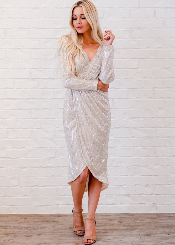 Sequin Goddess Wrap Dress - Silver