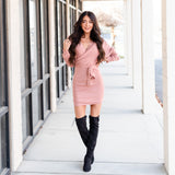 Charming Sweater Dress - Pink