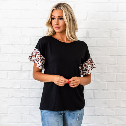 Leopard Ruffle Sleeve Top - Black