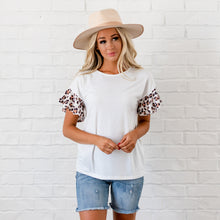 Load image into Gallery viewer, Leopard Ruffle Sleeve Top - White