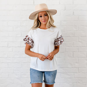 Leopard Ruffle Sleeve Top - White