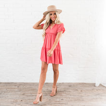 Load image into Gallery viewer, Ruffle Tiered Dress - Salmon