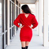 Charming Sweater Dress - Red