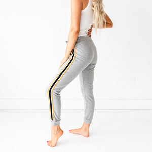 French Terry Joggers - Grey/Yellow Stripe