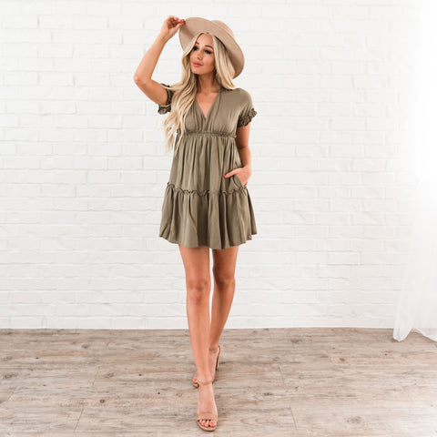 Ruffle Tiered Dress - Olive