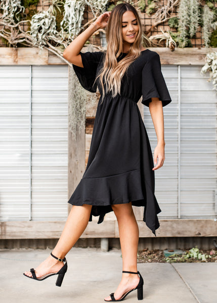 Kelsie Pleated Dress - Black