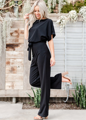 Belted Wide Leg Jumpsuit - Black