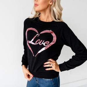 Love Pullover Sweatshirt - Black