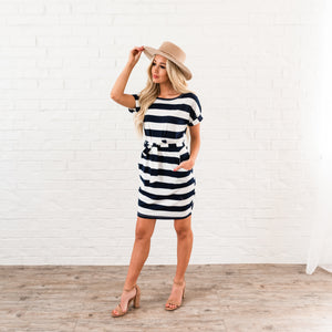 Striped Tee Shirt Dress - Navy