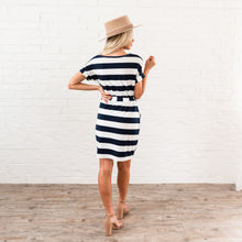 Load image into Gallery viewer, Striped Tee Shirt Dress - Navy