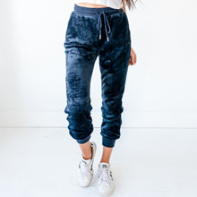 Load image into Gallery viewer, Faux Fur Joggers - Navy