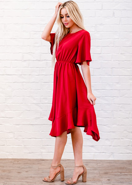 Kelsie Pleated Dress - Red