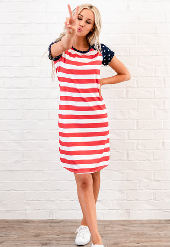 Stars Patriotic Tee Dress - Red/White