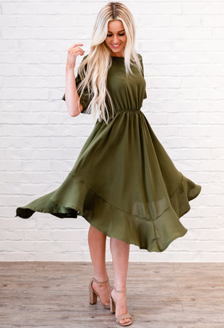 Kelsie Pleated Dress - Olive