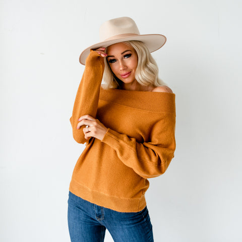 Dolman Sleeve Off Shoulder Sweater - Mustard