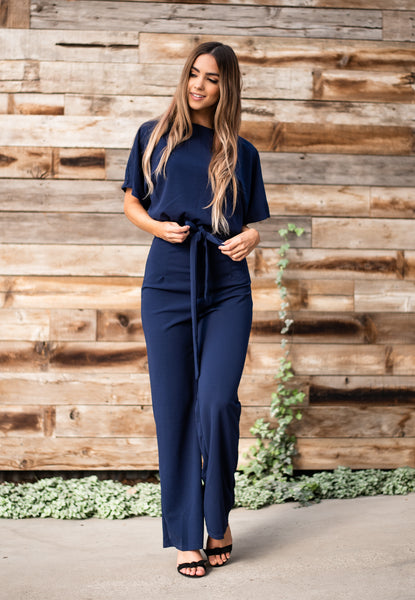 Belted Wide Leg Jumpsuit - Navy