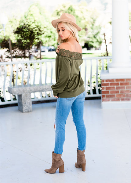 Maddie Lace Off Shoulder Top - Green