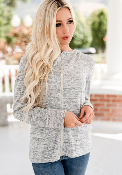Kelli Zip Front Hoodie - Light Grey