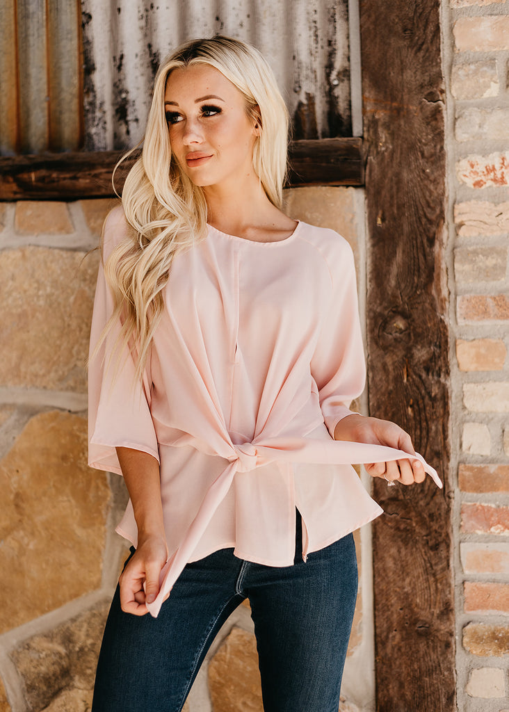Ashley Front Tie Blouse - Blush