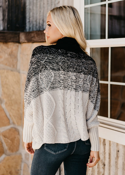 Ombre Poncho Sweater - Black