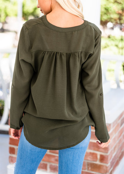 Ashley Button Down Pocket Blouse - Olive