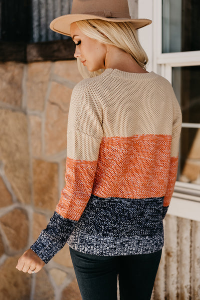 Savanna Netted Colorblock Sweater - Orange
