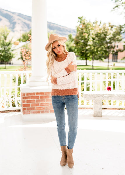 Cozy Popcorn Sweater - Brown