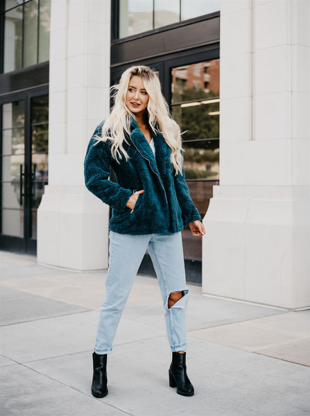 Megan Sherpa Jacket - Teal