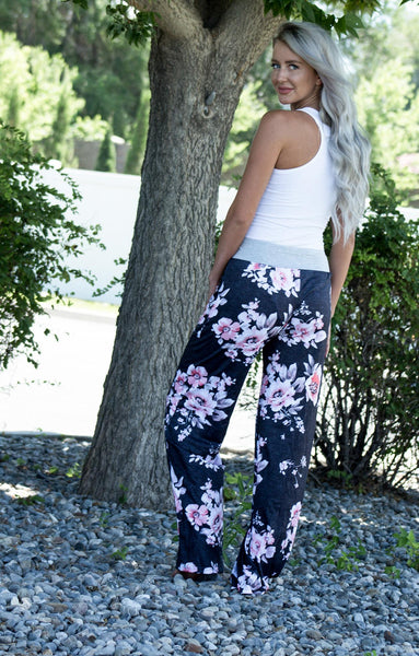 Charcoal Floral Lounge Pants