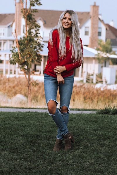 Red Lace Long Sleeve