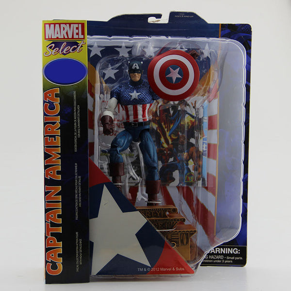 "Free Shipping Marvel Select Super Hero The Avengers Captain America PVC Action Figure Collection Model Toy 7"" 18cm #SPM004"
