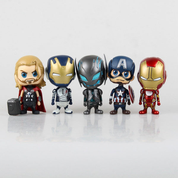 5pcs/set Avengers 2 Age of Ultron  Iron Man Captain America Thor Sentinel Q Version PVC Action Figure Toy 10cm KT383