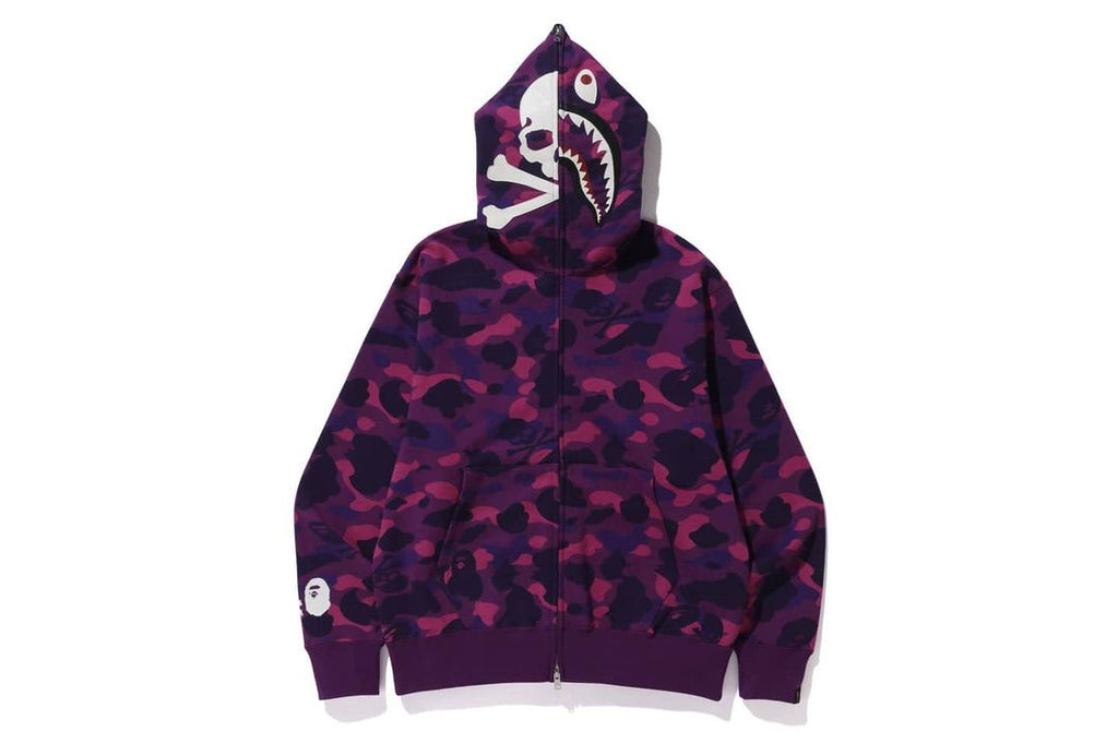 Bape vs Mastermind Color Camo Shark Hoodie Purple