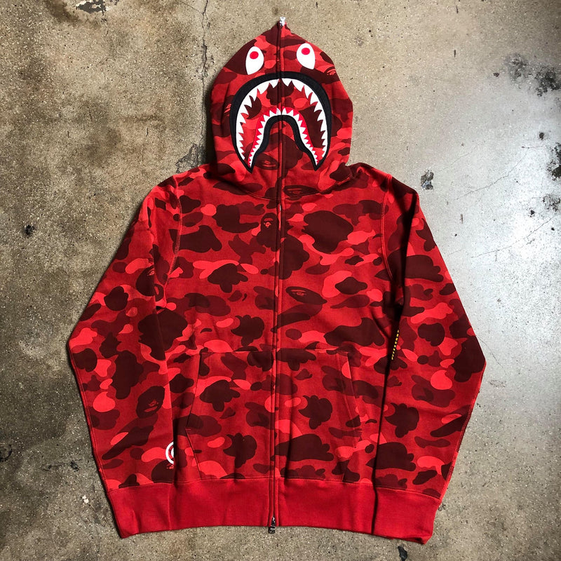 Color Camo PONR Full Zip Shark Hoodie Red - Exhibit A