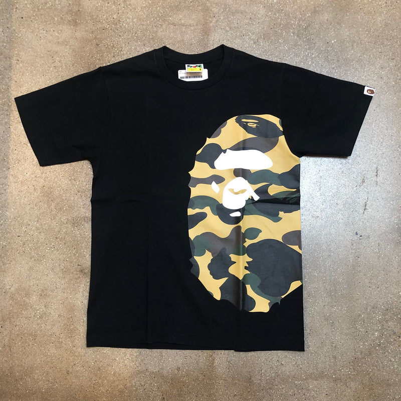 Bape 1st Camo Side Ape Head Tee Black/Yellow - Exhibit A