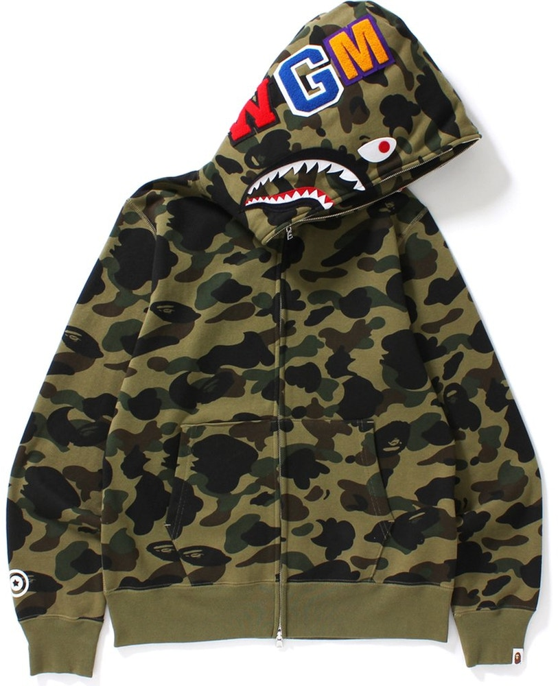 BAPE 1st Camo Shark Full Zip Hoodie Green - Exhibit A