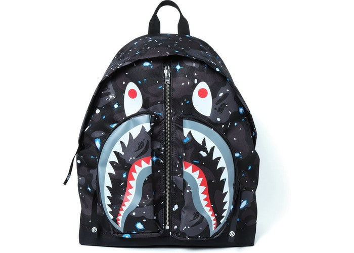Bape Space Camo Shark Day Pack Black